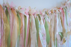 Ribbon bunting, perfect as a smaller backdrop to your dessert table or to dress your gift table or bridal table