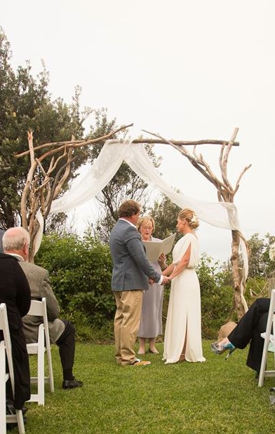 Timber branch ceremony arch. A beautiful frame for your ceremony photos. We can drape in fabric, decorate in florals and greenery or paper flowers.