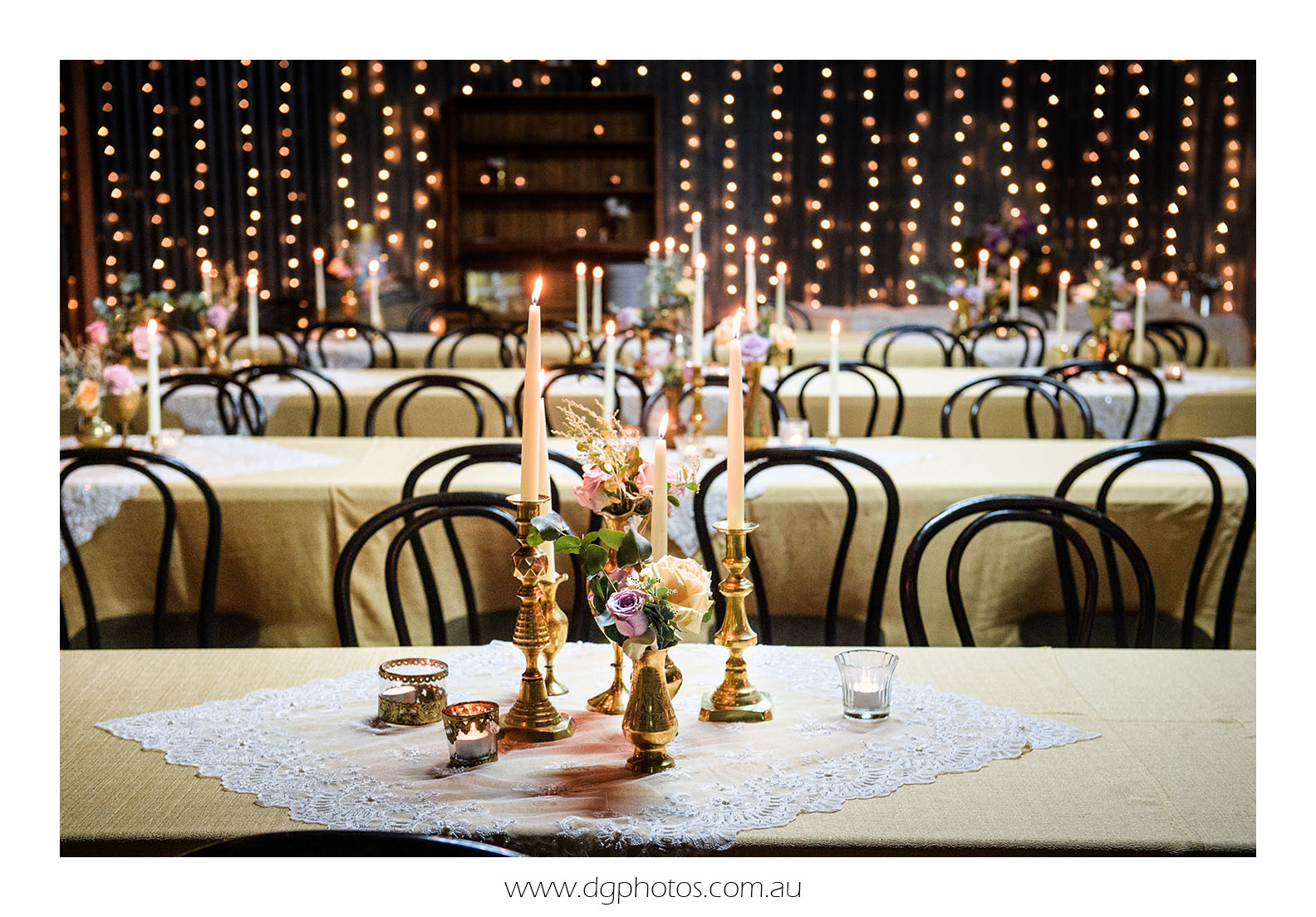 Event Stylist prop hire wedding decoration seclusions brass candlesticks