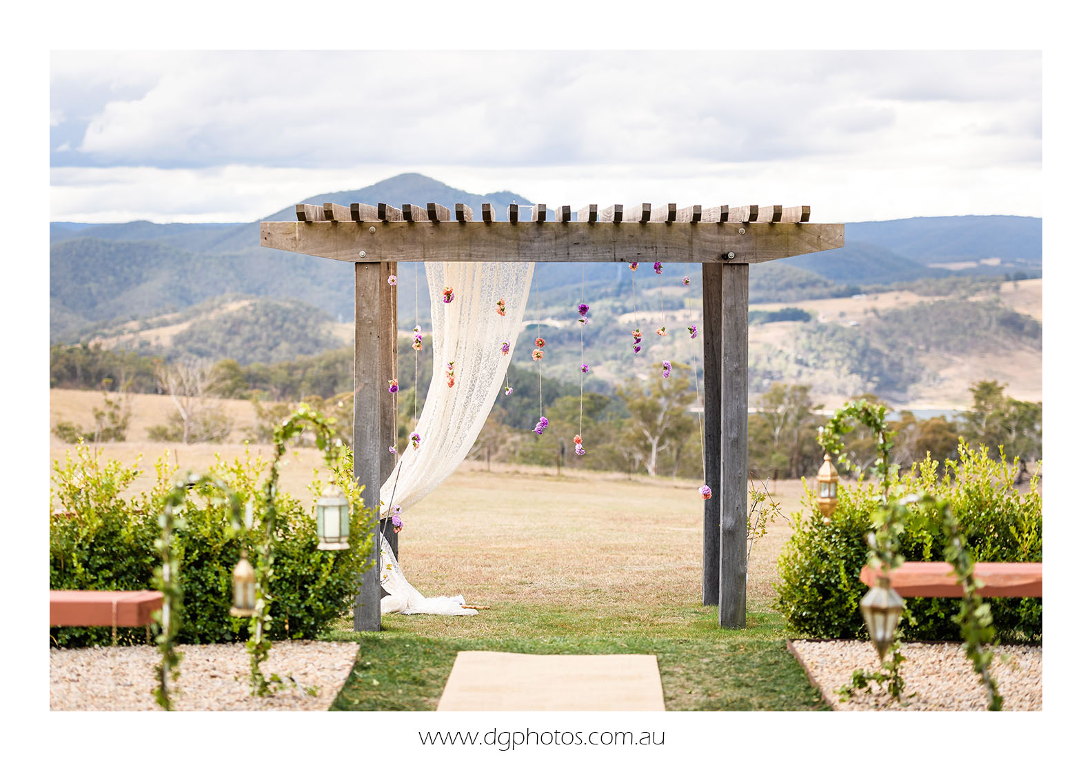ceremony arch styling blue mountains wedding vintage arbor seclusions